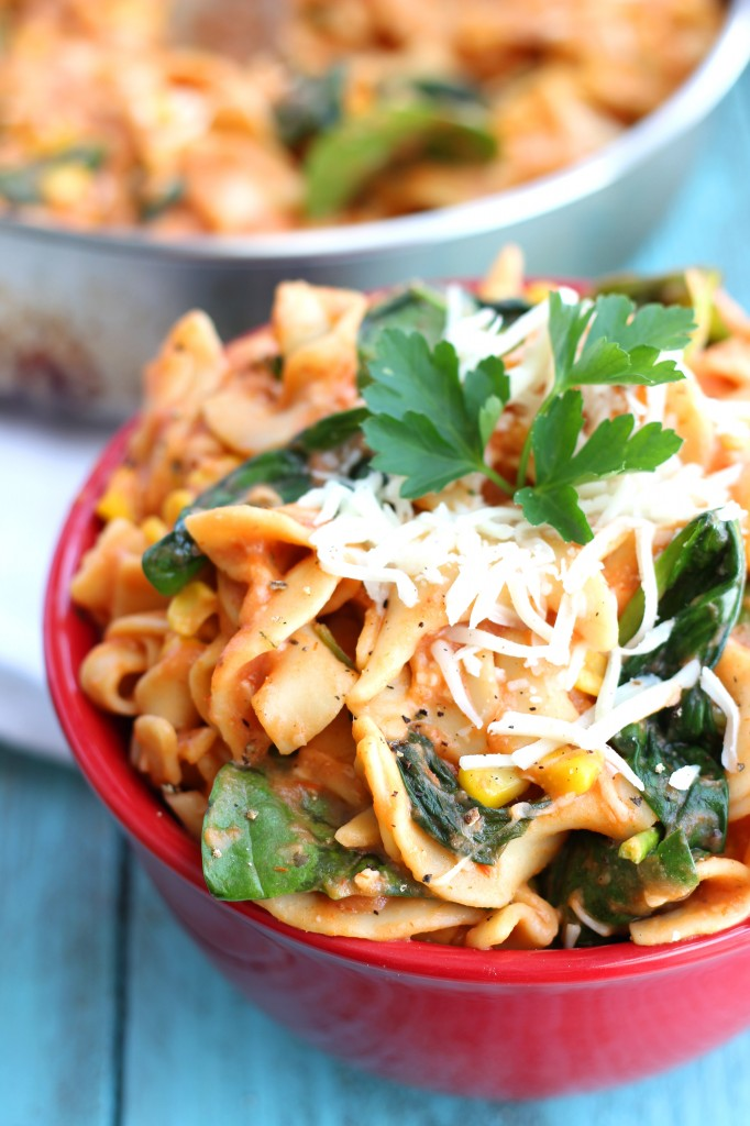 Red & White Spinach Pasta - one pot, under 30 minutes!