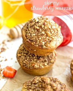 Skinny Strawberry Muffins with a Lighter Streusel by Chelsea's Messy Apron